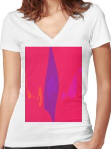 Purple Flame Women's Fitted V-Neck T-Shirt