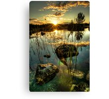 Sunset by a small lake Canvas Print