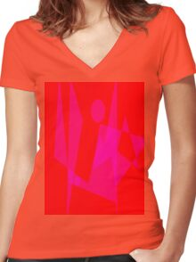 Standing on the Ground Women's Fitted V-Neck T-Shirt
