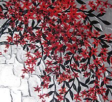 red black and silver blossom tree art by cathyjacobs