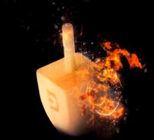 Flaming Sevivon (or Dreidel) a spinning top traditionally played during Chanukah Sticker