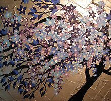 blue, purple and silver cherry blossom- winter frost by cathyjacobs