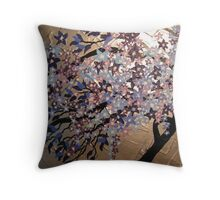 blue, purple and silver cherry blossom- winter frost Throw Pillow