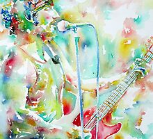 BRUCE SPRINGSTEEN PLAYING the GUITAR - watercolor portrait.2 by lautir
