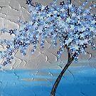 Blue stars cherry blossom tree by cathyjacobs