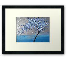 Blue stars cherry blossom tree Framed Print