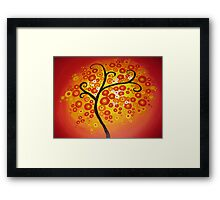 red yellow and orange circle tree art - colourful and vibrant painting Framed Print