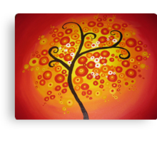 red yellow and orange circle tree art - colourful and vibrant painting Canvas Print