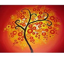 red yellow and orange circle tree art - colourful and vibrant painting Photographic Print