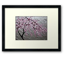 cherry blossom tree art with white and pink- japanese painting Framed Print