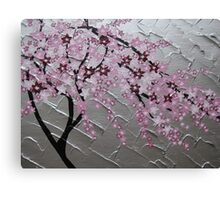 cherry blossom tree art with white and pink- japanese painting Canvas Print