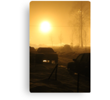 Small town. Winter night. Fog. Canvas Print