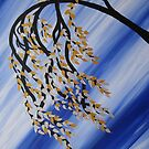 blue zen tree -with gold and silver leaves by cathyjacobs