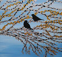 birds on branches II- blue, white, gold, silver and black by cathyjacobs