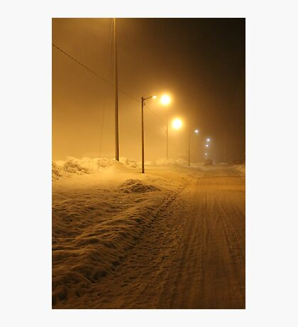 Winter street. Small town. Photographic Print