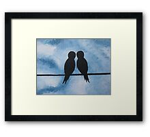 love birds on branches- blue, white, and black Framed Print