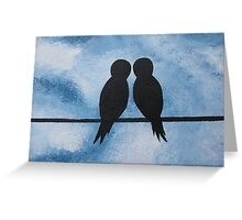 love birds on branches- blue, white, and black Greeting Card