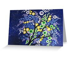 blue green yellow and purple circle tree with stars Greeting Card