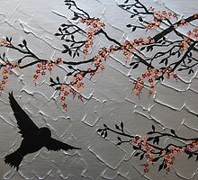 zen bird and sakura painting- japanese style cherry blossom by cathyjacobs