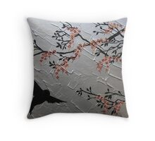 zen bird and sakura painting- japanese style cherry blossom Throw Pillow