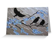 delicate blue cherry blossom with birds Greeting Card