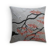 sakura red and silver cherry blossom Throw Pillow