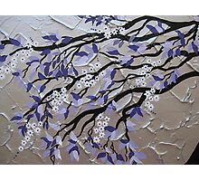 purple and silver zen tree painting with blossom Photographic Print