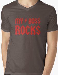 My Boss Rocks! Mens V-Neck T-Shirt