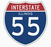 Interstate Sign 55 Illinois, USA Kids Tee