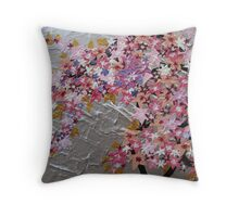 blue and pink and purple sakura Throw Pillow