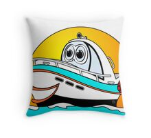 Caribbean Cartoon Motor Boat Throw Pillow