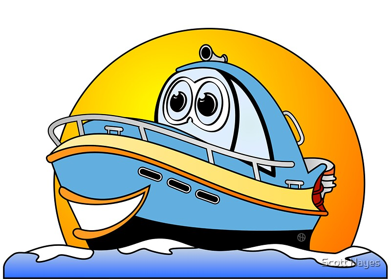 Cartoon Outboard Motors : Quot blue cartoon motor boat greeting cards by graphxpro