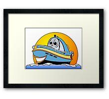 Blue Cartoon Motor Boat Framed Print