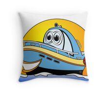 Blue Cartoon Motor Boat Throw Pillow