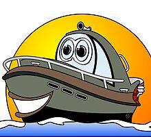 Camo Cartoon Motorboat by Graphxpro