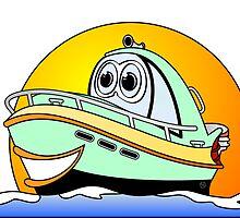 Green Motor Boat Cartoon by Graphxpro