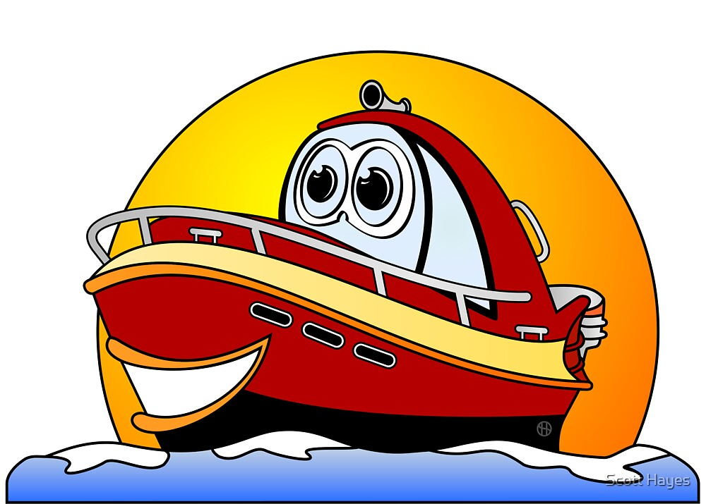 Red Cartoon Motor Boat by Graphxpro