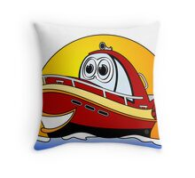 Red Cartoon Motor Boat Throw Pillow