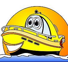 Yellow Cartoon Motor Boat by Graphxpro