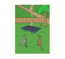 Kangaroo Trampoline Bounce Art Print