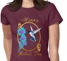 One Blue Hummingbird and a Mom Womens Fitted T-Shirt