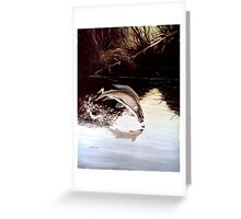 Grayling Leaping Out Of The Water Greeting Card