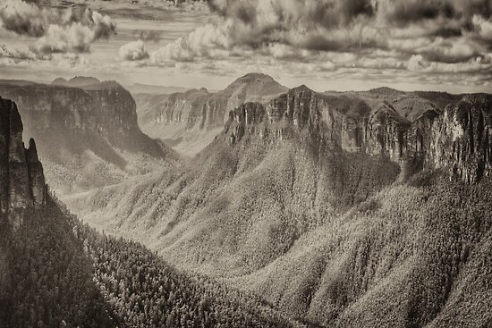 Govetts Leap - A Study in Black &White - Blackheath NSW - The HDR Experience by Philip Johnson