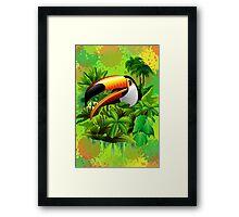 Toucan on Wild Green Jungle  Framed Print