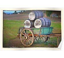 Cart & Wine Barrels 2 Poster