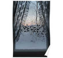 Frost on window with old curtains. Sunset. Poster