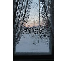 Frost on window with old curtains. Sunset. Photographic Print
