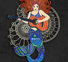 Happy Birthday, Daughter, Mermaid with Guitar by Micklyn2