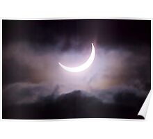 Crescent Sun between the Clouds Poster