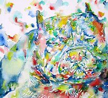 PIT BULL - watercolor portrait by lautir